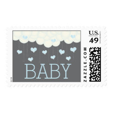 Clouds & Hearts Baby Shower Sprinkle Boy Postage at Zazzle