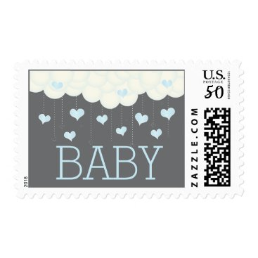 Valentines Themed Clouds & Hearts Baby Shower Sprinkle Boy Postage
