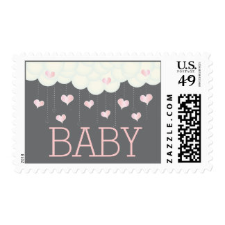 Clouds Hearts Baby Shower Sprinkle Girl Postage