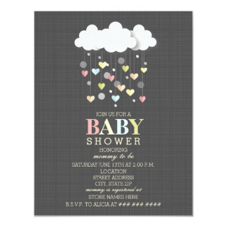 Clouds + Hearts Neutral Baby Shower Card