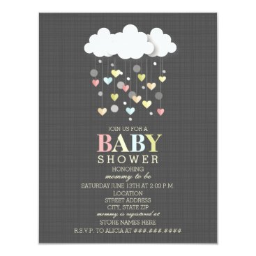 Valentines Themed Clouds   Hearts Neutral Baby Shower Card