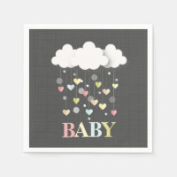 Clouds Hearts Neutral Baby Shower Paper Napkin