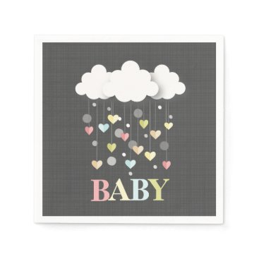 Valentines Themed Clouds   Hearts Neutral Baby Shower Paper Napkin