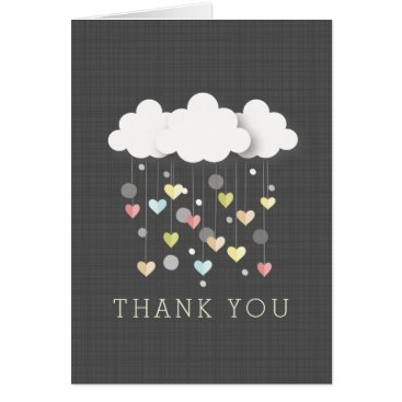 Valentines Themed Clouds   Hearts Neutral Baby Shower Thank You Card