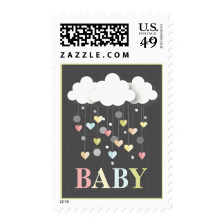 Clouds + Hearts Neutral Pastels Baby Postage