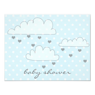 Clouds Hearts Raindrops Baby Shower Invitation