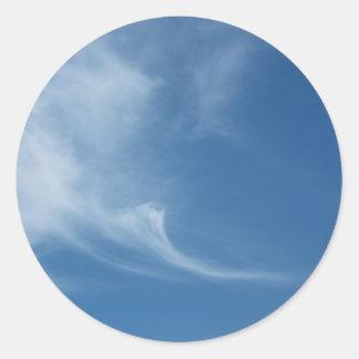 Clouds in blue sky classic round sticker