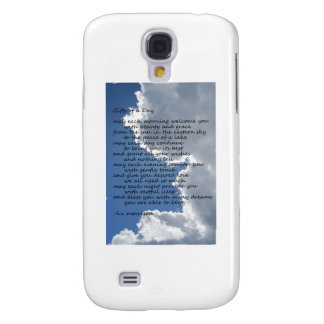 Clouds in blue sky with poem galaxy s4 cover
