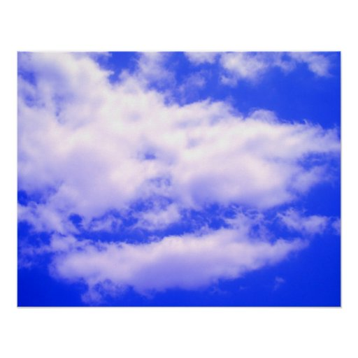 Clouds in Clear Blue Sky Poster