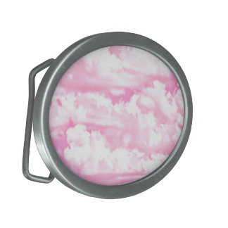 Clouds in Pink Decor Oval Belt Buckle
