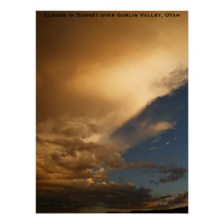 Clouds in Sunset over Goblin Valley State Park Poster