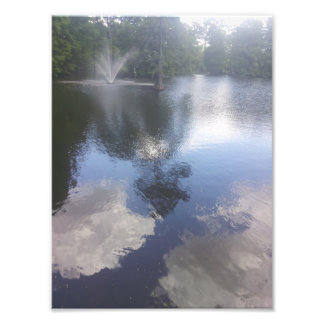 Clouds in the water & fountain print photo print