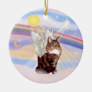 Clouds - Maine Coon Tabby Cat Angel Double-Sided Ceramic Round Christmas Ornament