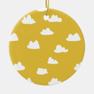 Clouds / Neutral Mustard Yellow / Andrea Lauren Ceramic Ornament