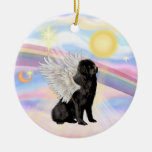Clouds - Newfoundland Angel (black) Double-Sided Ceramic Round Christmas Ornament