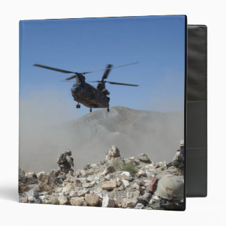 Clouds of dust kicked up by the rotor wash 3 ring binders