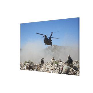 Clouds of dust kicked up by the rotor wash stretched canvas prints