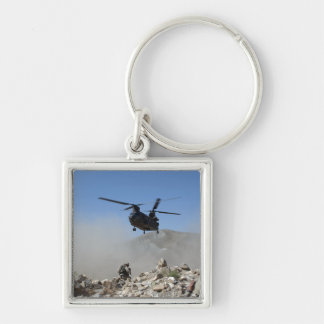 Clouds of dust kicked up by the rotor wash keychain