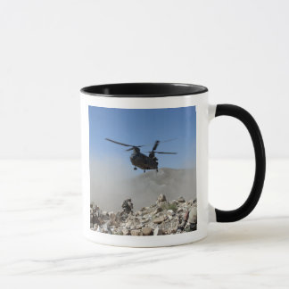 Clouds of dust kicked up by the rotor wash mug