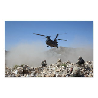 Clouds of dust kicked up by the rotor wash photo print