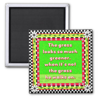 Clouds of Inspiration-greener grass 2 Inch Square Magnet