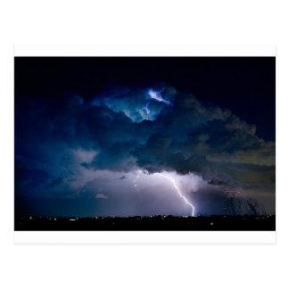 Clouds of Light Lightning Striking Boulder Count Post Card