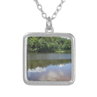 Clouds on the Water Square Pendant Necklace