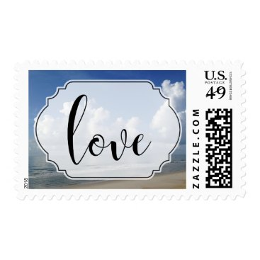 Beach Themed Clouds Over Beach Photo with Love Typography Postage