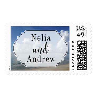 Beach Themed Clouds Over Beach Photo & Your Names, Wedding Postage