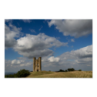 Clouds over Broadway Tower in the Cotswolds poster