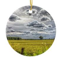 Clouds over Farm Fields Ceramic Ornament