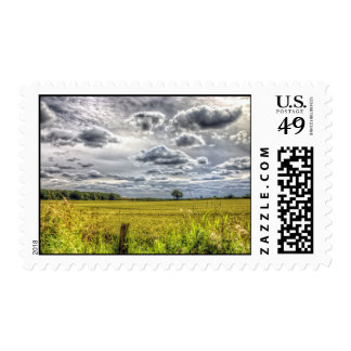 Clouds over Farm Fields Stamp