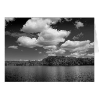 Clouds Over Lake Black and White Note Card