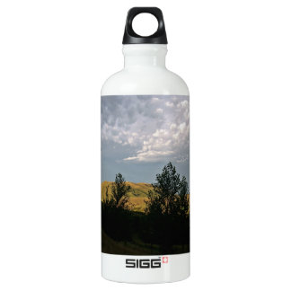 Clouds over mountains in summer evening aluminum water bottle
