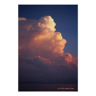 Clouds over sea at sunset print