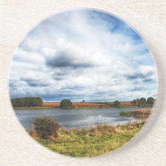 Clouds Over the Lake HDR Landscape Beverage Coaster