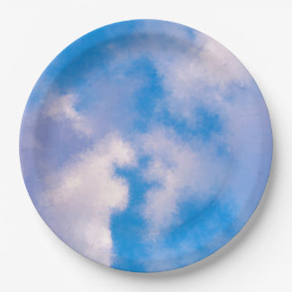 """Clouds Paper Plates 9"""""""