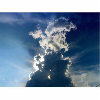 Clouds profile of a man statuette