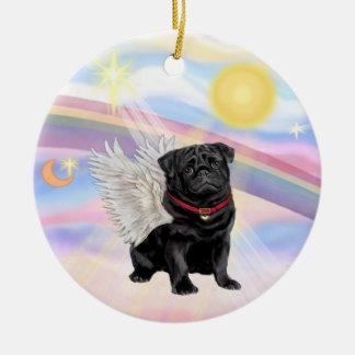 Clouds - Pug Angel black Ornaments
