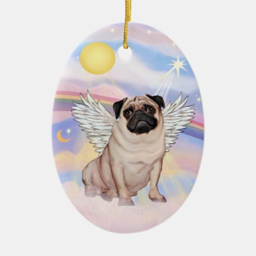 Clouds - Pug Angel (fawn) Christmas Ornaments