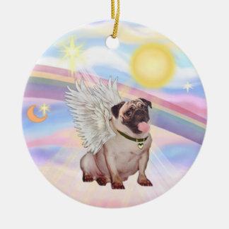 Clouds - Pug Angel fawn Ornaments