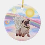 Clouds - Pug Angel (fawn) Ornaments