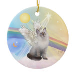 Clouds - Ragdoll Cat Angel Double-Sided Ceramic Round Christmas Ornament
