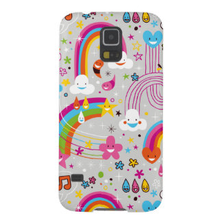 Clouds rainbows rain drops fun pattern galaxy s5 case