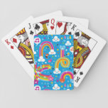 "clouds rainbows rain drops hearts pattern playing cards<br><div class=""desc"">pattern illustration with clouds,  rainbows,  rain drops and birds  &#169; and &#174; Bigstock&#174; - All Rights Reserved.</div>"