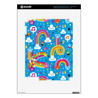 clouds rainbows rain drops hearts pattern skins for iPad 3