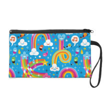 clouds rainbows rain drops hearts pattern wristlet