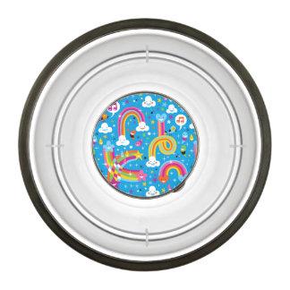clouds rainbows rain drops hearts pattern pet bowl