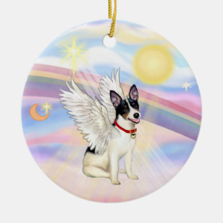 Clouds - Rat Terrier Angel Double-Sided Ceramic Round Christmas Ornament