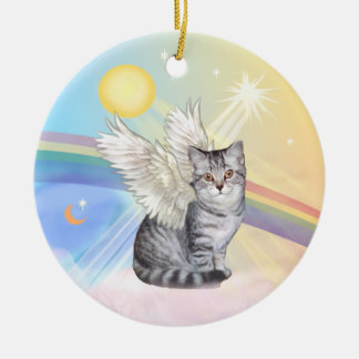 Clouds - Silver Tabby Tiger Cat Angel Ceramic Ornament